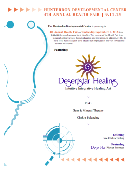 Hunterdon County Developmental Center 4th Annual Health Fair — featuring DesertStar Healing